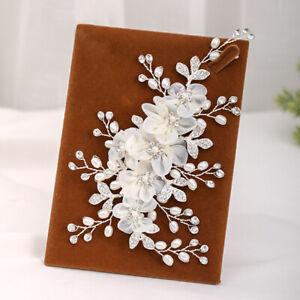 Handmade Chiffon Flower Hair Comb Wedding Bridal Crystal Pearl Insert Hair Comb