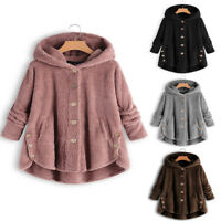 Women Winter Short Fluffy Coat Overcoat Jacket Tops Outwear Casual Loose Sweater