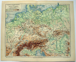Original 1904 Physical Map of Middle Europe by Meyers