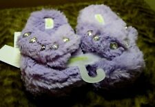 Girl's Plush Slippers purple Capelli button thong style 10-11 sleep wear New