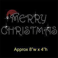 Merry Christmas Rhinestone/Diamante Transfer Hotfix Iron on Motif + free gift