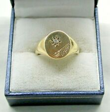 Gents Very Nice Heavy 9ct Gold And Diamond Signet Ring