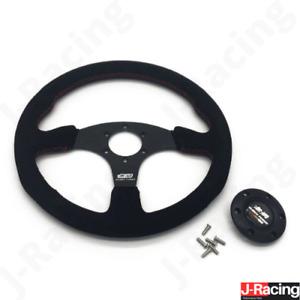 Mugen Racing Red Stitch 350mm Black Spoke Flat Suede Leather Steering Wheel HQ