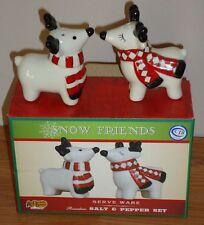 SNOW FRIENDS Reindeer Christmas Salt & Pepper Shakers Set w/Box Cracker Barrel
