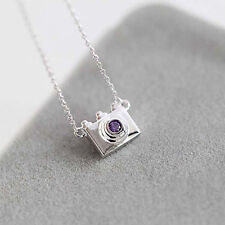 Necklaces for Women Collier Femme Trendy Silver Purple Crystal Camera