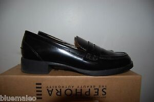 Zara Women Black Patent Leather Loafer Moccasins Size 36