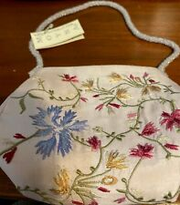Moyna Vintage Small Lilac Embroidered bag with beaded handle -Retailed $355-NWT