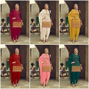 Unstitched Punjabi Suit Salwar Kameez Indian Designer Patiala Shalwar Dress Wear