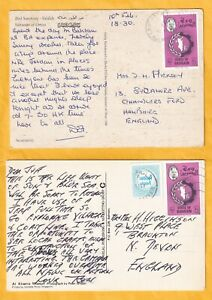 GG4405 Bahrain 5 differently stamped used postcards UK;  1981 - 2000s