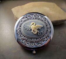 Handmade Victorian Oxidized Silver Dragon Cameo Compact Mirror