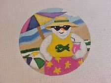 Pepperberry Designs Needlepoint Hand Stitch Painted Canvas Beach Snowman 18 Ct