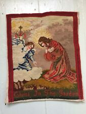 Antiguo Viejo la aguja funcionan Sampler, relijious BERLIN Tapiz woolwork, 28 X 33CM, G/C