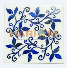 "12"" White Marble Coffee Table Top Lapis Mosaic Leaves Inlay Bedroom Decors W433"