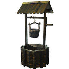Garden Wishing Well Planter Pot with Bucket - Solid Wood ZLY-5102