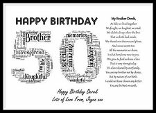 Personalised Special Brother Poem Word Art 40 50 60 65th Birthday Gift Present