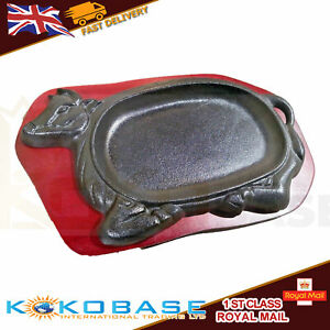 UK BULL COW Cast Iron Sizzler Sizzling Wooden Stand Curry Beef Catering Steak