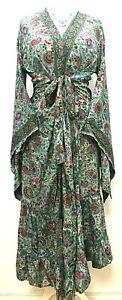 Boho hippie 100% SILK Beach Kimono Cover Up Wrap Long Light Grey dress One size