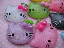 20 Resin Kitty Flatback Button/Cherry/Rhinestone--Mix