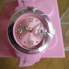 ICE Pink Ladies Silicone Quartz Watch Silvertone Stainless Clasp BNIB Authentic
