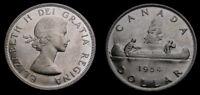 1954 Canada Silver 1 One Dollar Queen Elizabeth II SWL AU-58