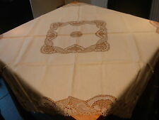 Vintage Cream Mantel 46in Cuadrado delicado Crotchet centro y bajos de la pernera sin usar