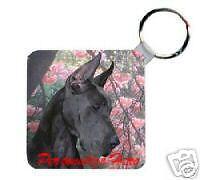 Great   Dane  black     Personalized  Breed  Key  Chain
