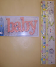 TINSEL TOWN CHIPBOARD WORDS PINK GLITTER BABY + BORDER