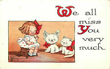 "Grace Wiederseim A/S Little Girl W/Doggie & Kitty ""We All Miss You."" P/C"