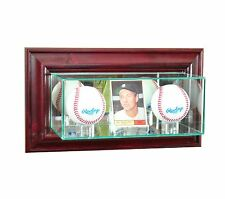 *NEW Wall Mounted Double Basebal & Card Glass Display Case MLB NCAA