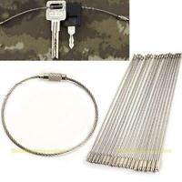 20pcs 15cm Stainless Steel Screw Locking Wire Keychain Cable Keyring Key Holders