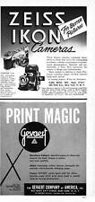 VINTAGE PRINT AD 1952 ZEISS IKON CONTAX 11-A CAMERA & GEVAERT