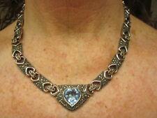 VINTAGE ARTISAN Sterling Silver ANTIQUE MARCASITE Blue TOPAZ HEART LINK Necklace