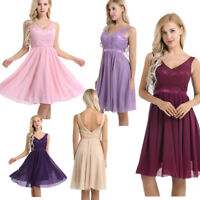 Women Evening Dress V Neck Lace Bridesmaid Wedding Formal Cocktail Party Prom