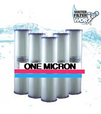 """ONE 1 MICRON POLY PLEATED SEDIMENT WATER FILTER CARTRIDGE  10""""X 2.5"""" 5 PACK ✅✅✅✅"""
