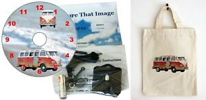 DIY CD Clock KIT Camper Van in small canvas gift bag with Camper Van Motif