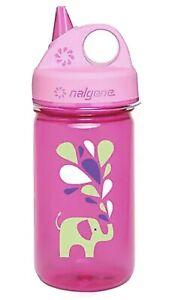 Nalgene Bottle BPA Free Kids Grip n Gulp Pink With Elephant 12oz Water Bottle
