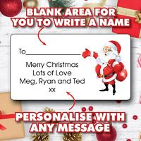 Santa Christmas Personalised Gift Tags Present Stickers Labels wrapping 1075