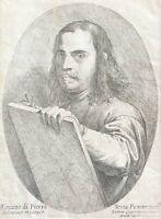 Pietro TESTA 1611-1650 Lucchesino peintre graveur Roma Italia Autoportrait 1645