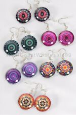 6 Pairs Fashion Earrings Aztec Double Sided Glass Dome Jewelry Wholesale Lot USA