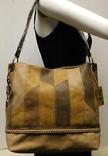"Ruff Hewn Patchwork Brown & Tan Hobo Shoulder Bag Handbag Tote Purse ""NWT"""