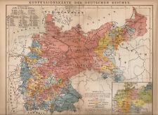 OLD MAP KONFESSIONSKARTE DES DEUTSCHEN REICHES  ROK 1892