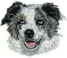 "3 1/4"" Australian Shepherd Dog Breed Portrait Iron On Embroidery Patch"