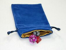 "New 4""X6"" Blue Velvet Dice Bag With Gold Satin Lining DnD Rpg"