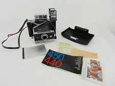 Vintage Polaroid 450 Automatic Land Camera w/ Focus Flash, Case, Manual