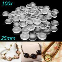 100Pcs 25MM Round Glass Domed Clear Flat Back Transparent Cabochons Seal 6.5 mm