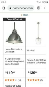 """Home Decorators Collection 1-Light Cast Aluminum Hardware Brushed Nickel 66""""max"""