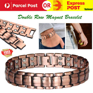 Red Copper Double Strong Magnetic Therapy Bracelet For Arthritis Pain Relief AZ