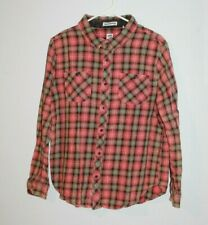Rock By Junkfood Peace Sign Flannel Size L Red & Green