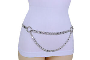 Women High Waist Hip Silver Metal Chain Belt Circle Rings Charm Wave Plus XL XXL