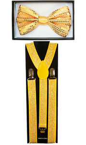 Sparkle Gold SUSPENDERS and BOW TIE MATCHING SET Tuxedo Suit Adult Teen Combo